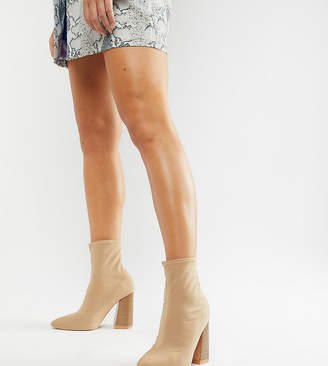 BEIGE Lost Ink Wide Fit Meg Stretch Sock Boots