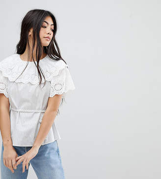 Fashion Union Petite Top In Stripe With Broderie Collar And Sleeves