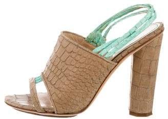 Aperlaï Embossed Leather Sandals
