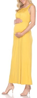 White Mark Women's Maternity Crochet Maxi Dress
