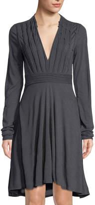 Leon Max Knotted-Trim V-Neck Dress