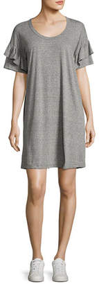 Current/Elliott The Ruffle Roadie T-Shirt Dress, Gray/Red