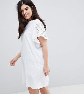 Asos T-Shirt Dress With Broderie Sleeves