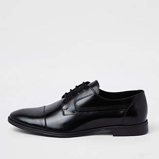 River Island Mens Black leather lace-up derby shoes