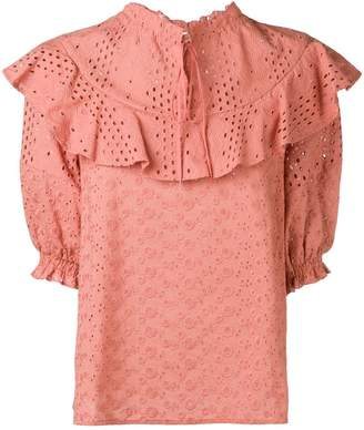 See by Chloe crocheted frilled blouse