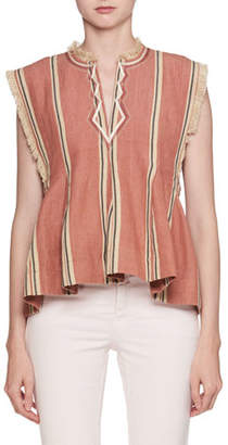 Etoile Isabel Marant Drappy Sleeveless Striped Peplum Cotton Blouse