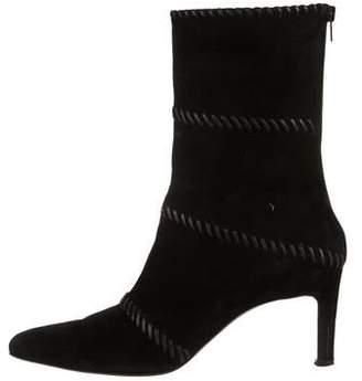 Salvatore Ferragamo Whipstitch Suede Ankle Boots