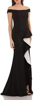 Carmen Marc Valvo Off-the-Shoulder Gown