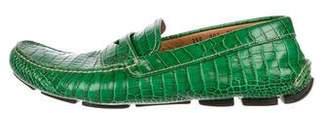Prada Alligator Driving Loafers