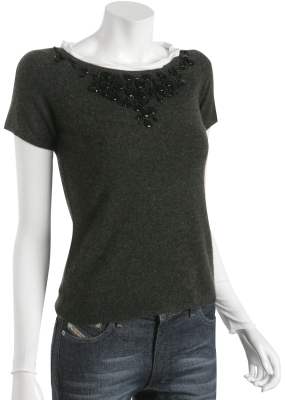 Robert Rodriguez grey cashmere beaded sweater cotton lining