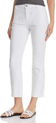 7 For All Mankind High Waist Slim Kick Jeans in White Runway Denim