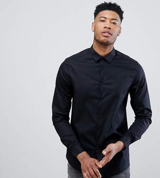 Asos Design DESIGN Tall Stretch Regular Fit Shirt In Black