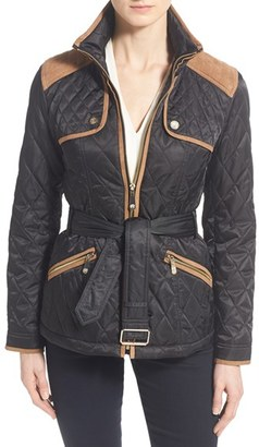 Women's Vince Camuto Faux Suede Trim Belted Quilted Jacket $218 thestylecure.com
