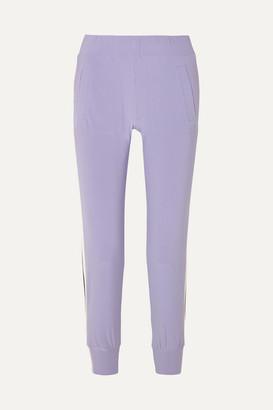 Norma Kamali Striped Stretch-jersey Track Pants - Purple