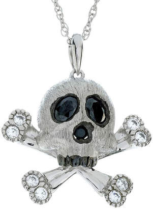 FINE JEWELRY Genuine Onyx and Lab-Created White Sapphire Skull and Crossbones Sterling Silver Pendant Necklace