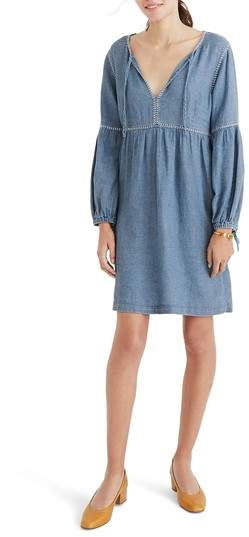 Madewell Indigo Peasant Dress