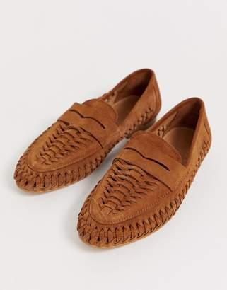 Asos Design DESIGN Mellow leather weave loafer in natural