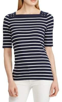 Chaps Petite Slim-Fit Lace Jersey Top