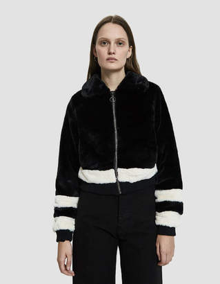 Which We Want Sunny Faux Fur Track Jacket