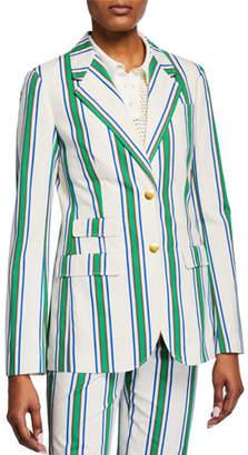 Tory Burch Striped Two-Button Cotton Blazer