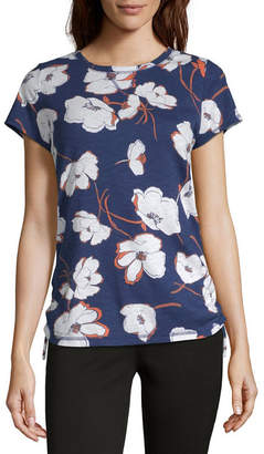 Liz Claiborne Weekend-Womens Crew Neck Short Sleeve T-Shirt