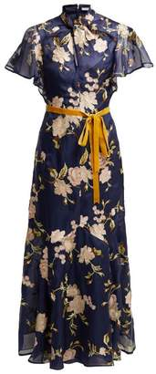 Erdem Celestina Gertrude Embroidered Silk Organza Gown - Womens - Navy Multi