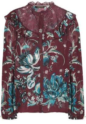 Roberto Cavalli Ruffle-Trimmed Lace-Paneled Printed Silk-Georgette Top