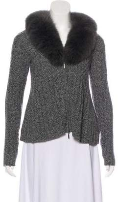 Magaschoni Cashmere Fur-Trimmed Sweater
