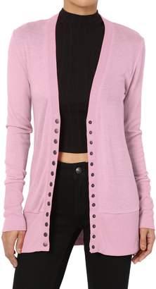 Ash TheMogan Women's Snap Button V-Neck Long Sleeve Knit Cardigan 2XL