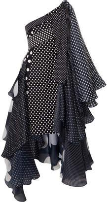 Richard Quinn - Asymmetric Polka-dot Taffeta Dress - Black
