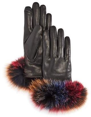 Echo Fox Fur Trim Leather Tech Gloves