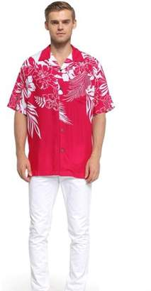 Hawaii Hangover Men's Hawaiian Shirt Aloha Shirt Floral Edge in Pink 2XL