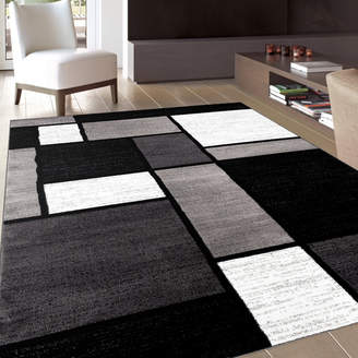 Wade Logan Lorenzo Gray/Black Area Rug Rug