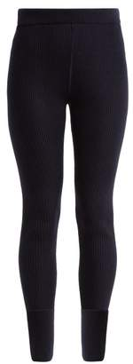 Jil Sander - Ribbed Wool Leggings - Womens - Dark Blue
