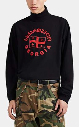 "Vetements Men's ""Georgia"" Flag Cotton Oversized Turtleneck Top - Black"