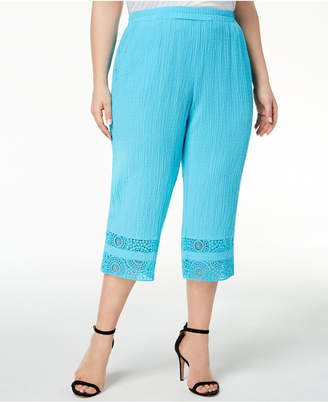 JM Collection Plus Size Crinkle Crochet-Cuff Capri Pants, Created for Macy's