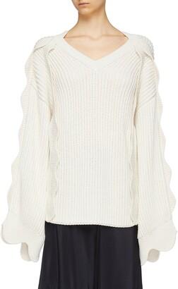 Stella McCartney Scalloped sleeve oversized organic cotton-wool sweater