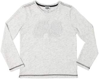 Karl Lagerfeld Embossed Cotton Jersey T-Shirt