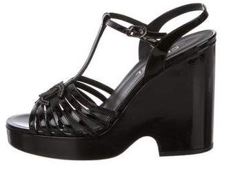 Chanel Patent Platform Sandals