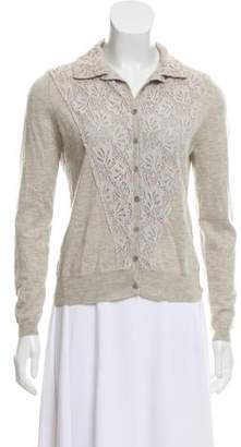 Allude Lace-Accented Button-Up Cardigan