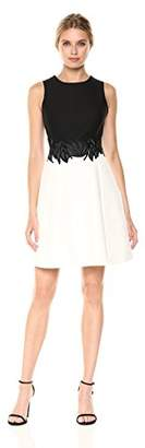 Halston Women's Sleeveless Round Neck Color Blocked Dress Embroidery