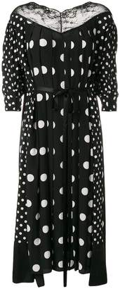 Marc Jacobs Lace-trimmed Pleated Polka-dot Crepe-de-chine Midi Dress