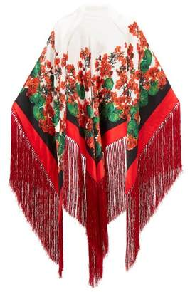 Dolce & Gabbana Tasseled Floral Print Satin Shawl - Womens - Red