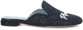 Chiara Ferragni Suite Black Glitter Mules