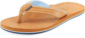 Peter Millar Hari Mari x Men's Leather Thong Sandal, Walnut