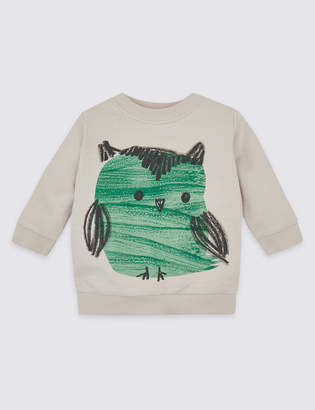 Marks and Spencer Pure Cotton Owl Sweatshirt
