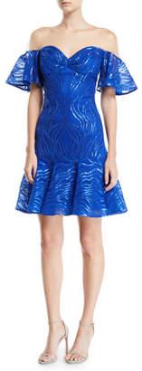 Tadashi Shoji Off-the-Shoulder Illusion Ruffle Sequined Dress