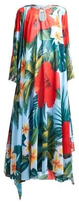 Richard Quinn Crystal Embellished Floral Print Crepe Gown - Womens - Blue Multi