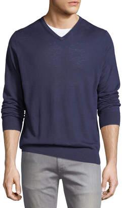 Slate & Stone V-Neck Linen Sweater, Dark Blue