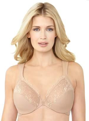 Glamorise Women's Plus-Size Elegance Front Close Lace Underwire, Cafe